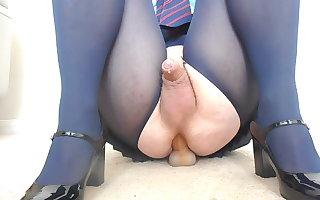 Sharon fucking dildo in navy blue school uniform